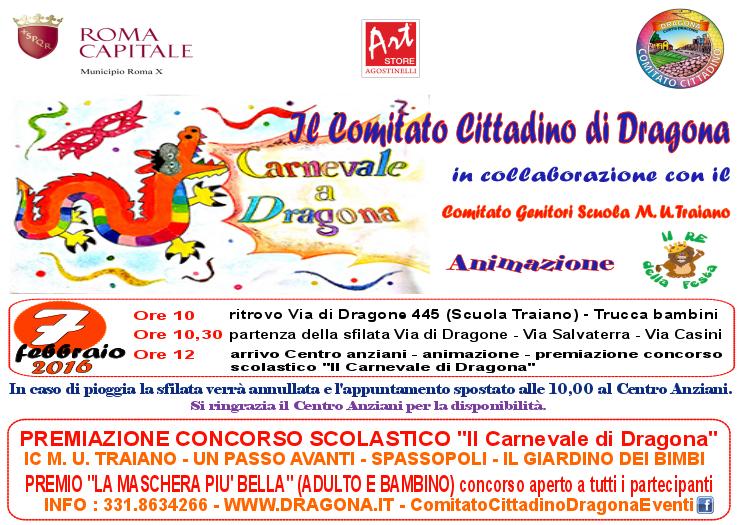 Locandina del Carnevale a Dragona 2 febbraio 2016